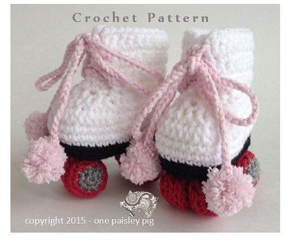 Free Crochet Pattern Baby Hockey Skates : Roller Skate Baby Booties - PDF CROCHET PATTERN Crochet ...