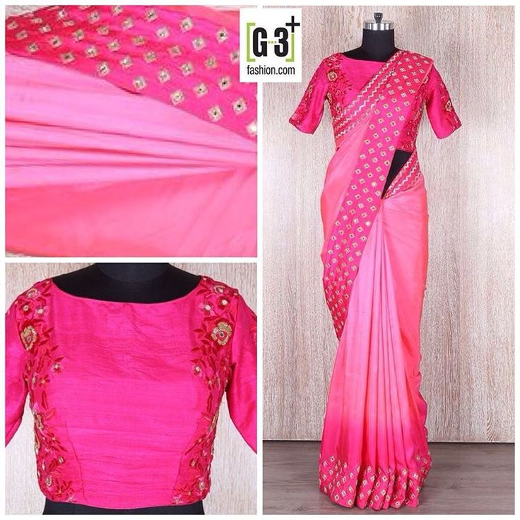 Shaded Pink Satin Party Wear Saree.  ⚫️ View more collection at www.g3fashion.com ⚫️For price or detail do whatsApp +91-9913433322. #G3fashion #saree #threadworksaree #custommade #couture #weddingday #asiana #bridesmaiddress #registrybride #beauty #perfection #instabeauty #instadaily #photooftheday #photodaily #couture #floralprint #indianfashion #pakistanifashion #pakistanicoutur#asianbridalblog #mehndisaree #mendisaree #colourful #mirrorworksaree #partysaree