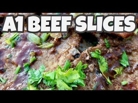 ♨️ How To Cook Beef Slices With A1 Steak Sauce On The Blackstone Griddle - YouTube