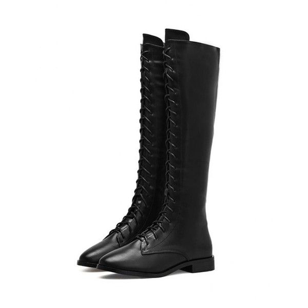 Faux Leather Lace Up Knee High Boots (71 SGD) ❤ liked on Polyvore featuring shoes, boots, knee high boots, black knee-high boots, black leather lace up boots, black faux boots and leather lace up boots