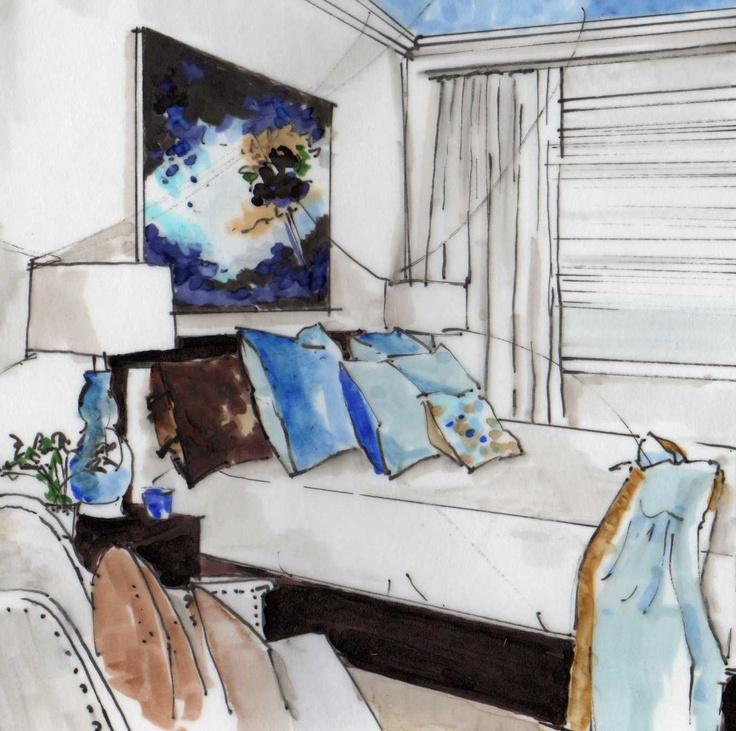 Patricia Gray interior, rendering by Michelle Morelan Design