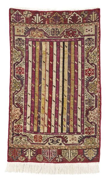 Anatolian-Kirsehir-rug  around 1880, ghiordes-knot, worn, damaged, incomplete 97*57 cm