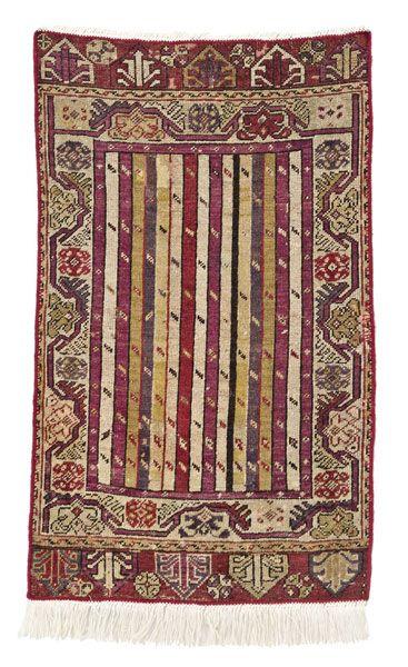 Anatolian-Kirsehir-rug  around 1880, ghiordes-knot, worn, damaged, incomplete 97*57 cm