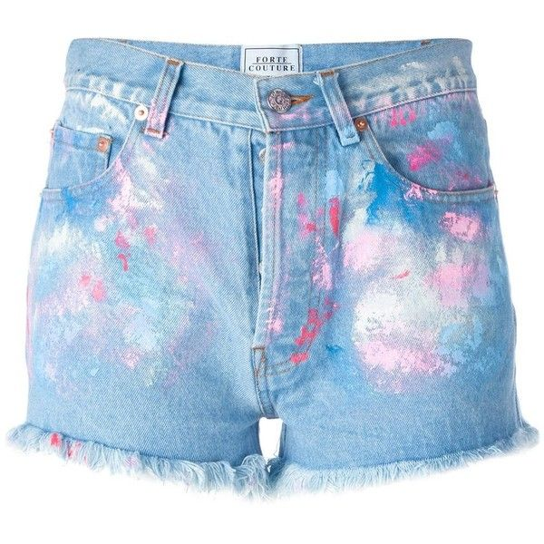 Forte Couture - painted denim shorts - women - Cotton - 26 (770 BRL) ❤ liked on Polyvore featuring shorts, bottoms, jeans, pants, blue, blue cotton shorts, denim short shorts, denim shorts, jean shorts and cotton shorts