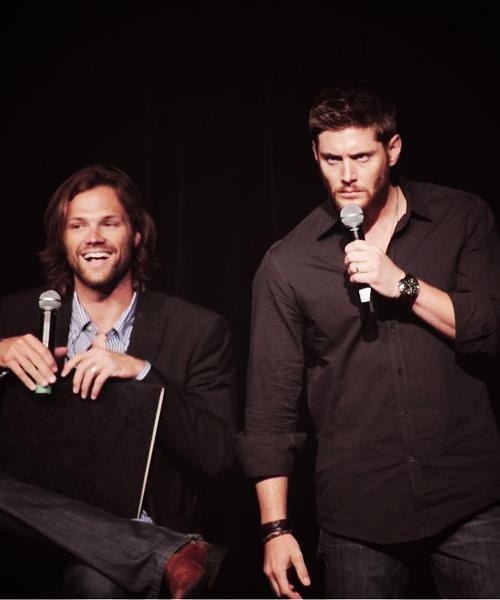 "Fan: ""I love you Jared!""   Jensen: ""Shh! It's not your turn.""   Jared: ""Let her speak."""