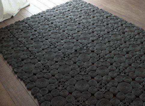 Необычный коврик из шнура…. | Поделки своими руками