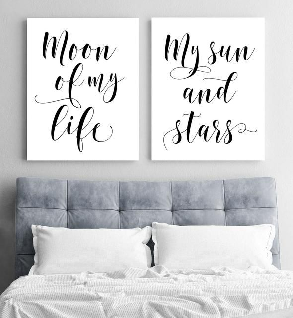 Moon And Sun Print Set   Bedroom decor for couples, Bedroom ...