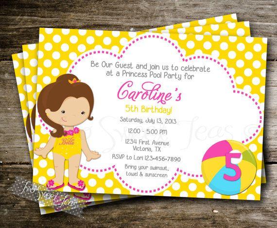 Belle Princess Pool Party Invitation Digital Printable DIY Disney Beauty and the Beast Waterslide