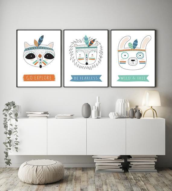 Tribal Animal Printables Nursery Decor Set 3 Piece Wall Art image 5