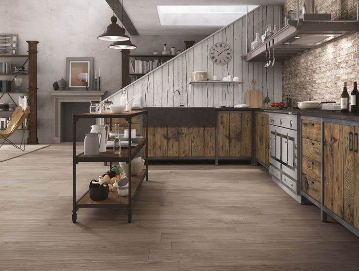 Brilliant rustic kitchen with lovely timber look porcelain tile flooring