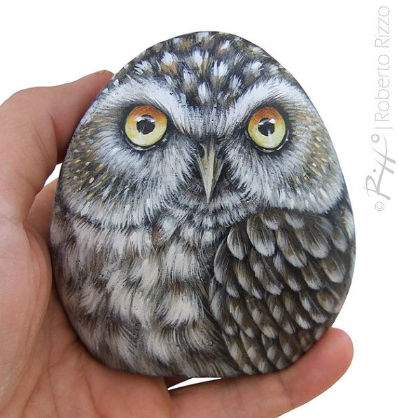 Little Owl Hand Painted On a Smooth Sea Rockl! A Stunning Piece for All of You, Owl Lovers!  #etsy #etsyfinds #owl #owls #paintedstones #paintedrocks #rockpainting #robertorizzo #owlart #handpainted #paintedpebbles
