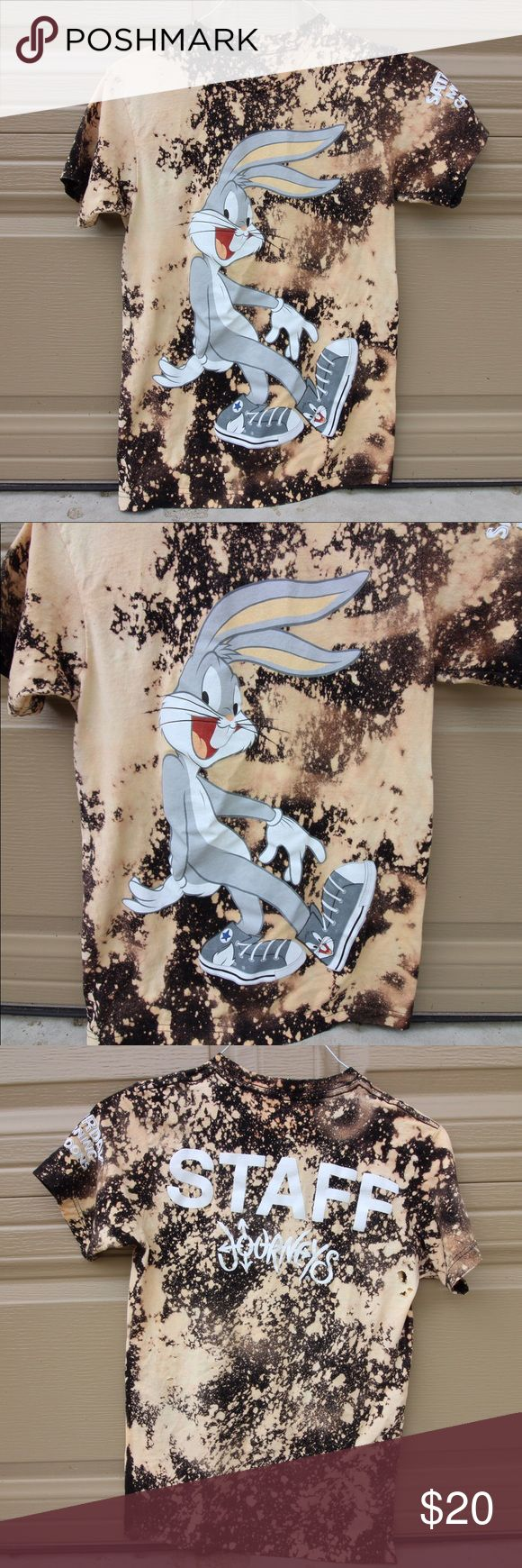 Bleach Dyed BUGS BUNNY CONVERSE shirt Bleach Dyed Bugs Bunny Converse t shirt. Was a staff shirt but many people wanted it. I bleach dyed it myself. Men's small! I wear a women's Small and I can fit it, it's just a bit big hehe Converse Tops Tees - Short Sleeve