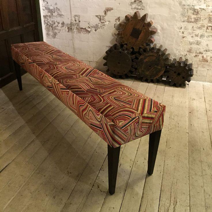 Benchseat upholstered in Andrew Martin Multi Vita fabric