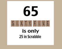 65th Birthday Card, 65th Birthday, Milestone Birthday, The Big 65, Funny Birthday, 1951 Birthday Card, Scrabble Card