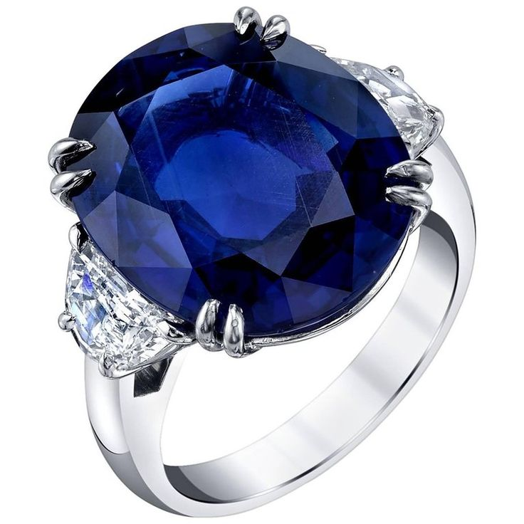 GIA Certified 12.23 Carat Unheated Blue Sapphire and Diamond Platinum Ring 1