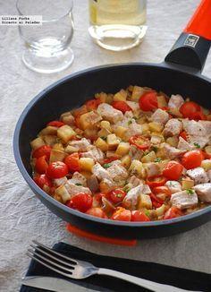 Receta de atún guisado con berenjena y tomatitos. Con fotos del paso a paso, consejos y sugerencias de degustación. Recetas de pescados. Recetas de tupper