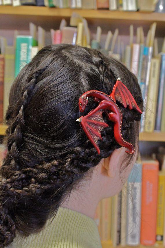 ORIGINAL FANTASY hair clip  Dragon Hair Barrette/Pin by aishavoya