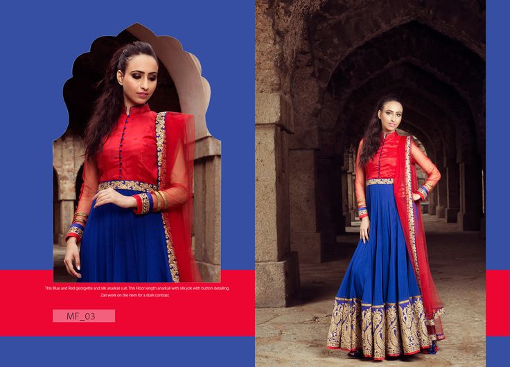 The Blue and Red georgette and silk anarkali suit. This Floor lenght anarkali with silk yok with button detalling Zarl work on the hem for a stark contrast. Product Code: MF_03 Price:$216 Mail: rangrezzfashions@gmail.com   #Fashion #Dress #Designersuites #NiceDesigns #Models #Beauty #colors #dresses #georgette #Red #Blue