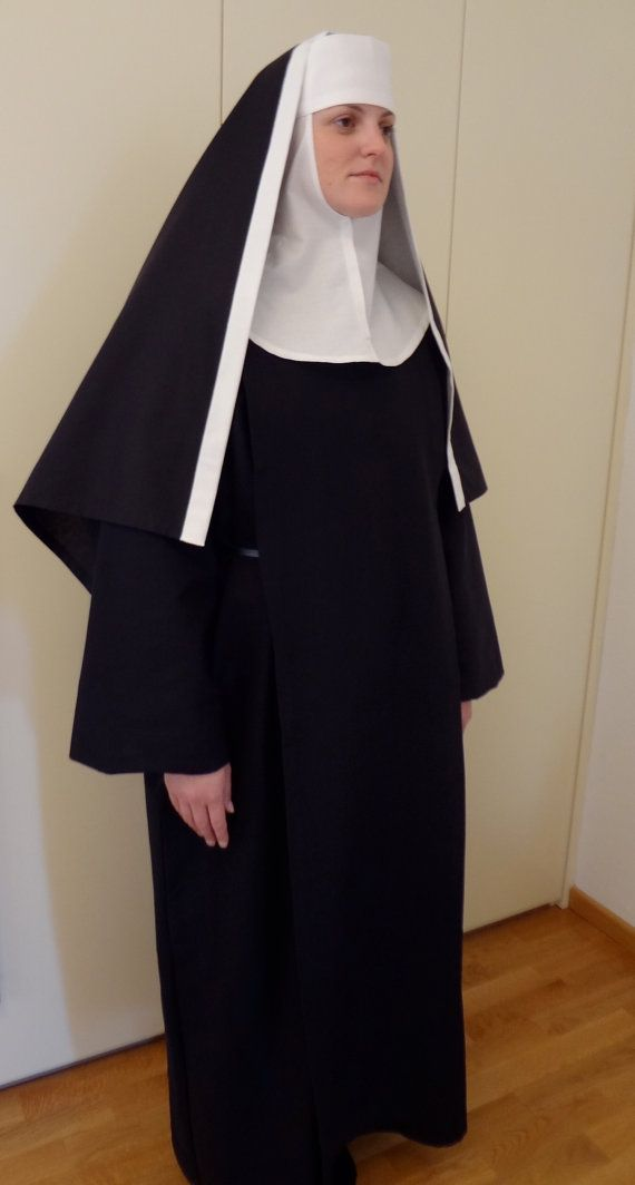 Pattern for nun or novice costume. Prints out on A4 paper.  Included are patterns for habit with scapular, wimple and veil; information sheet with