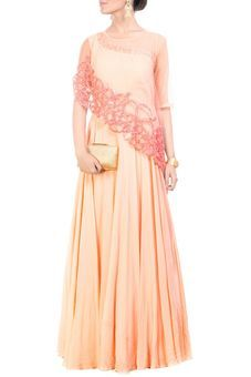 Rose Quartz Cape Gown by Anushree Agarwal, Ethnic Gowns