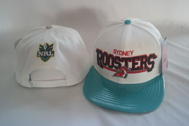 NRL Sydney Roosters White Snapback Hats Brim Blue Leather