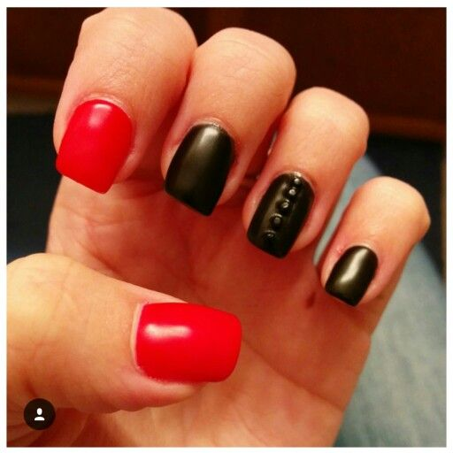 Matte black and red nails. Gems. Simple design. 2016. Nail art. Fall nails.