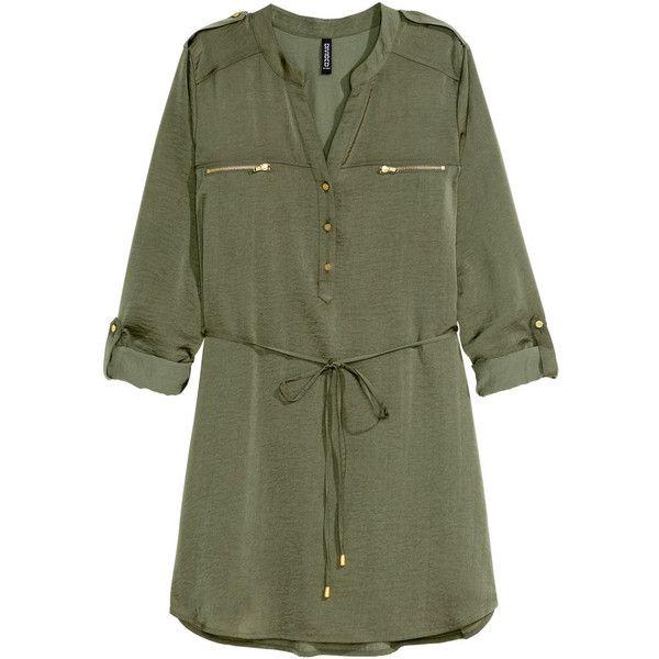 H&M Shirt dress ($30) ❤ liked on Polyvore featuring dresses, tops, vestidos, khaki green, green dress, h&m, long sleeve short dress, long sleeve dress and shirt-dress