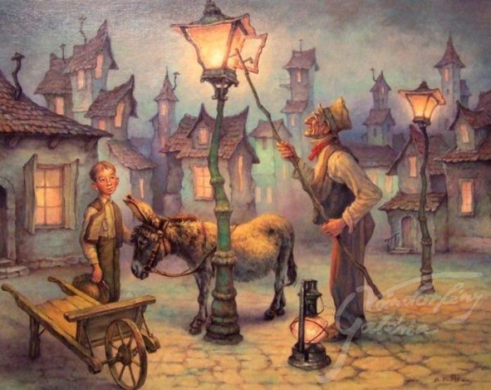 The old lamplighter - artist: Szász Endre László