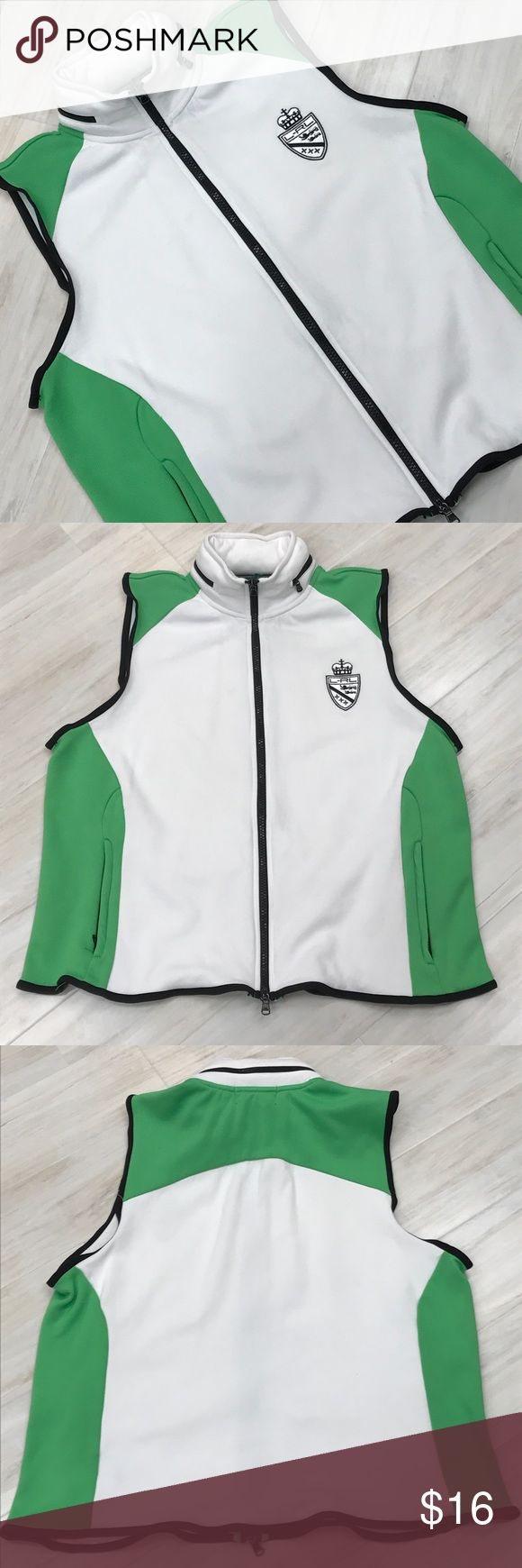Lauren Sport - Ralph Lauren vest White sports vest with green and black accents with the hood zipped in the collar Lauren Ralph Lauren Jackets & Coats Vests
