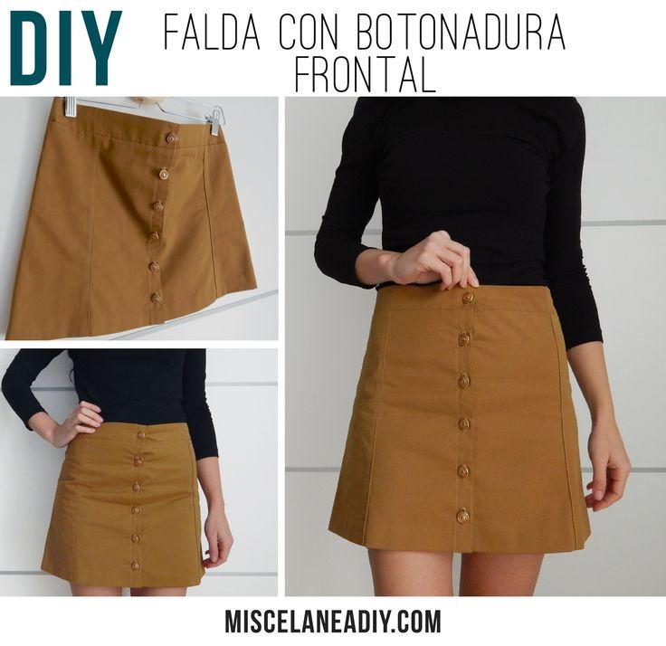 Haz tu misma una falda con botonadura frontal. #diy #falda #costura