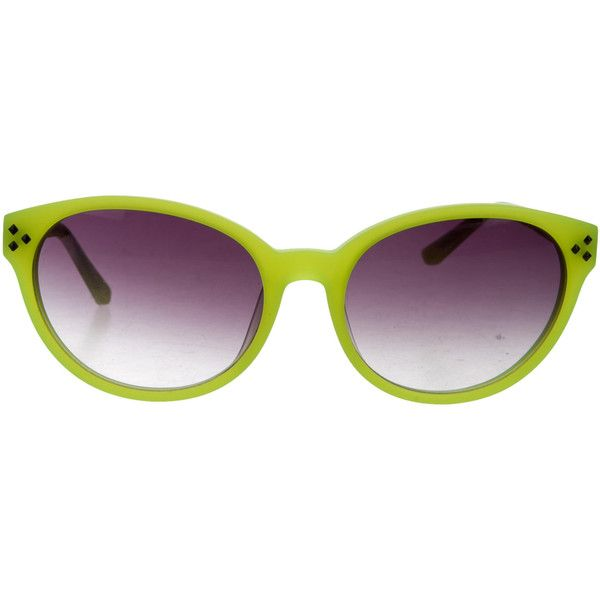 Pre-owned Matthew Williamson x Linda Farrow Cat-Eye Tinted Sunglasses ($95) ❤ liked on Polyvore featuring accessories, eyewear, sunglasses, yellow, yellow sunglasses, yellow glasses, tinted lens glasses, yellow tinted sunglasses and yellow tinted glasses