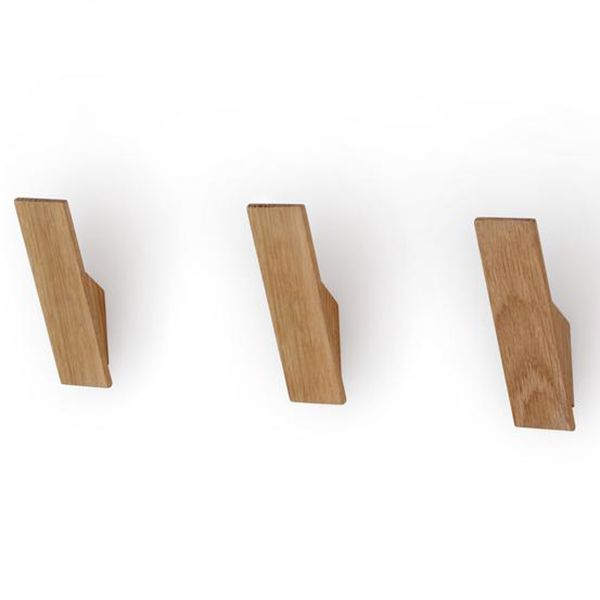 Oak Wooden Wall Hook - Set of 3. This stylish set of wooden wall hooks