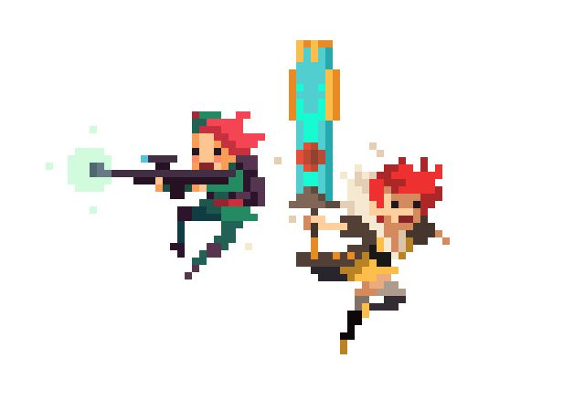 We launched Super Time Force last week, and this week our friends Supergiant launched Transistor. Pretty cool time for videogames, right? Here's Red & Aimy, courtesy of Capy's Vic Nguyen.