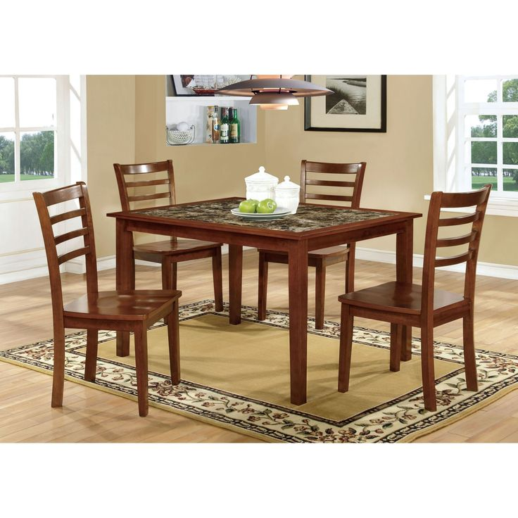 Furniture of America Tillman 5 Piece Faux Marble Dining Table Set - IDF-3521T-5PK