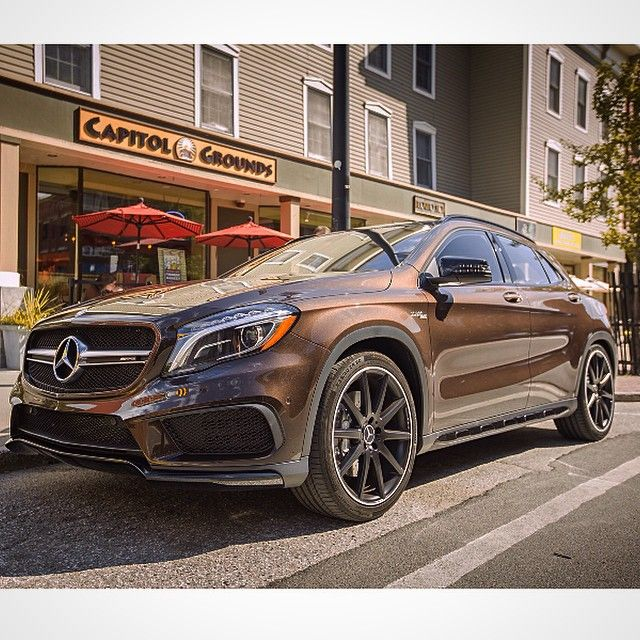 What better ride to stop off for some fresh beans than this Cocoa Brown GLA45 AMG.  #MBPressDrive #4MATIC #GLA45 #AMG #Mercedes #Benz #SUV #instacar #carsofinstagram #germancars #luxury