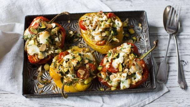 "These protein-packed stuffed peppers make a filling vegetarian meal. If you don't like goats' cheese these they also work well with feta. With a GI of 41 this meal is <a href=""http://www.bbc.co.uk/food/collections/high-protein_low-gi_recipes"">high protein, low GI</a> and provides 373 kcal per portion."