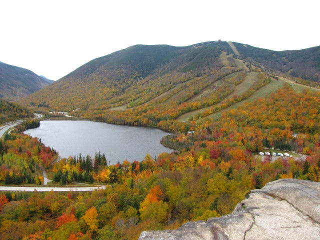 View of Echo Lake and Cannon Mountain ski slopes from