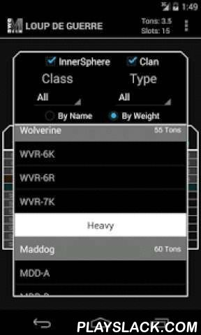 AweMech For MechWarrior Online  Android App - playslack.com ,  aweMech is a Mechlab for Android that offers full loadout customization and basic loadout statistics. Loadouts can be saved to your device and shared via http://mwo.smurfy-net.de. Further integration with smurfy-net includes opening URLs and loading your personal Mechbay in aweMech! There are a lot of features planned and you can be a part of that process at https://awefalafelapps.uservoice.comAt this time, use of this tool…