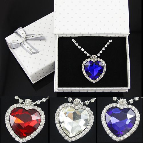 OCESRIO Romantic Titanic Heart of the Ocean Necklace for Women Birthday Gifts Silver Long Crystal Necklace Pendant gfs-a01