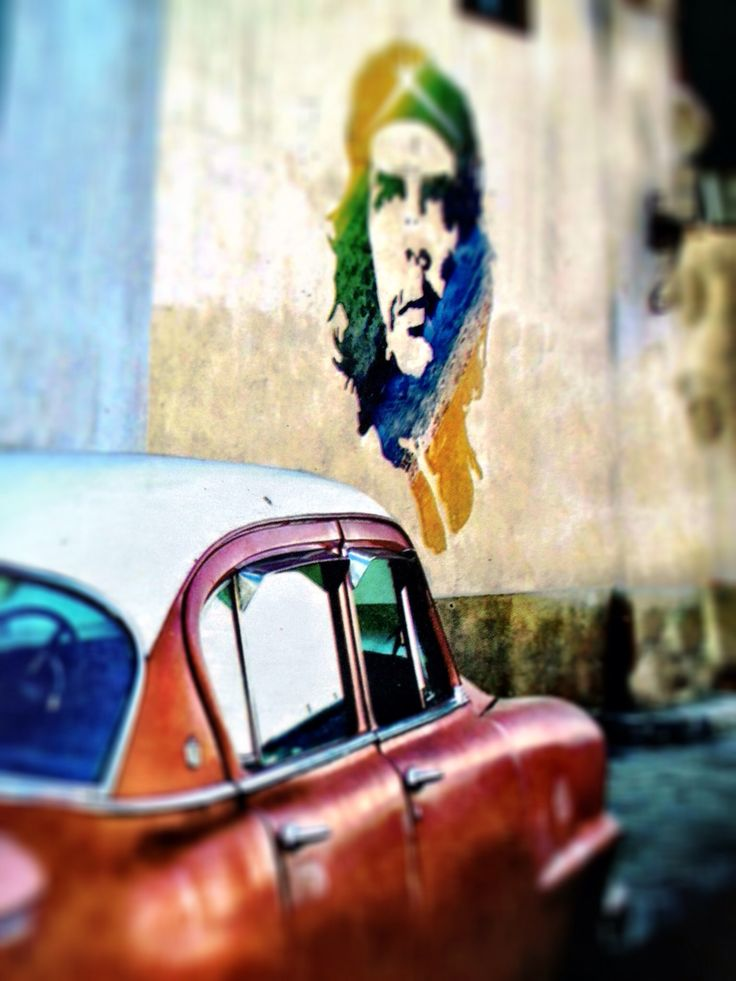 Everywhere in Cuba you will see street art with images of Che Guevara - there is no commercial advertising. Guevara left Cuba in 1965 to foment revolution abroad, first unsuccessfully in Congo-Kinshasa and later in Bolivia, where he was captured by CIA-assisted Bolivian forces and summarily executed.