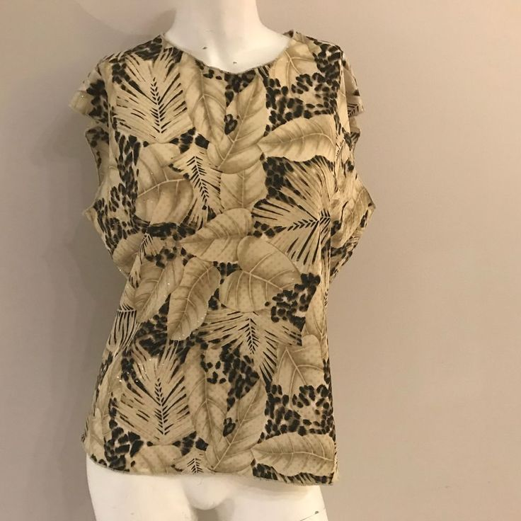 Jaipur Top Leaves Large Beige Brown Shimmery Sleeveless Size Stretchy  #Jaipur #TankCami #Career