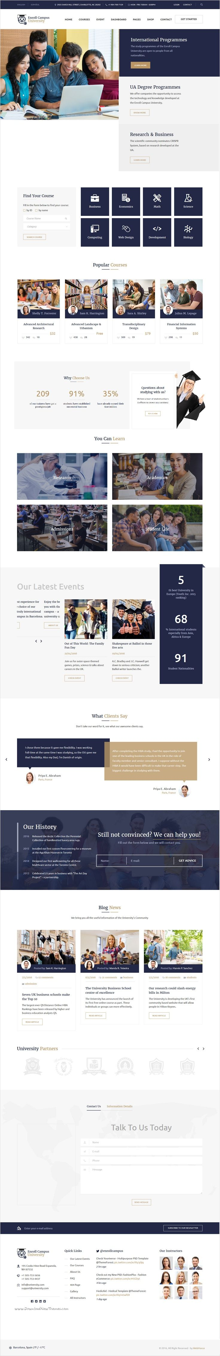 Enroll University is a professional #lms #bootstrap template for school, college or #education website with 4 stunning homepage layouts download now➩ https://themeforest.net/item/enroll-university-college-school-responsive-education-template/17343044?ref=Datasata
