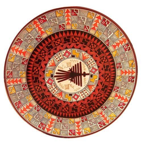 peruvian art | Handpainted Cusco Decorative plate. The geometric designs imitate ...