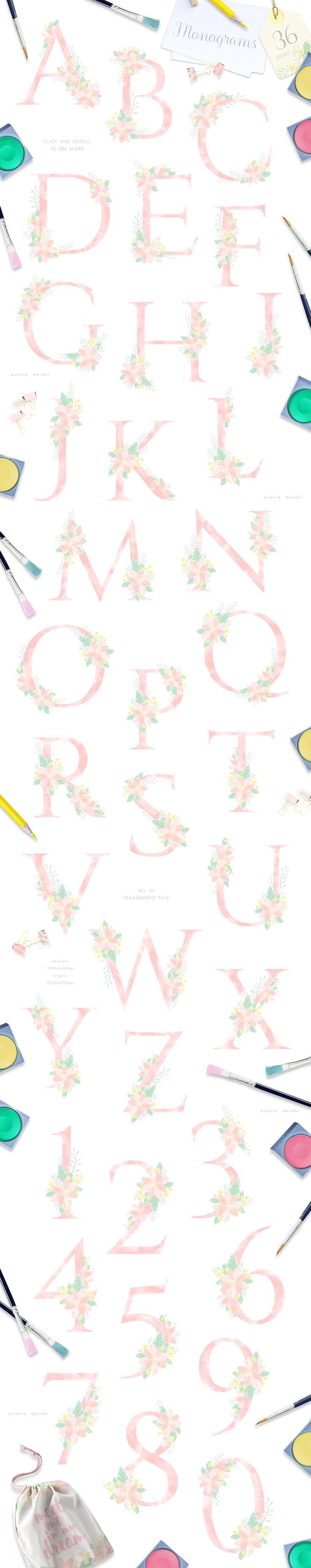 Hello Sunshine!  Introducing 'Gentle Spring Bloom + MONOGRAMS' floral graphic pack. In this graphic pack, I'm using new design technique that allowed me to achieve more natural and gentle visual style. Well enjoy! :)