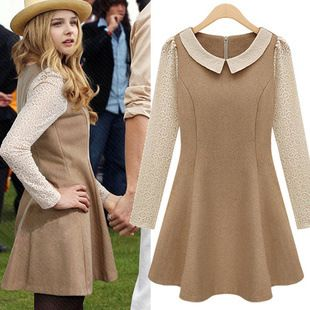 Aliexpress.com : Buy Fashion women's 2013 spring sweet cutout lace patchwork peter pan collar woolen long sleeve dress 514 from Reliable collar shirt suppliers on Cherry&jiang. $28.02