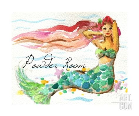 Powder Room Red Hair Mermaid Photographic Print by sylvia pimental at Art.com