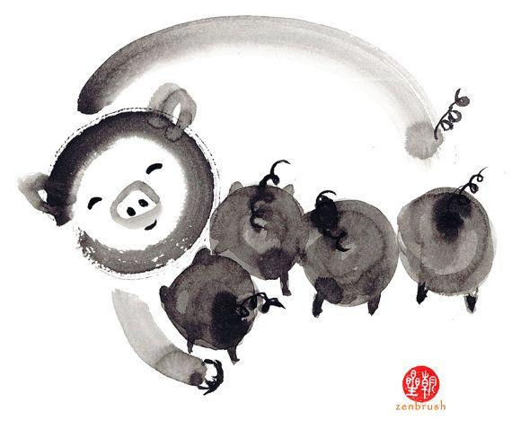 Pig Year of the Pig Chinese Zodiac Original Zen Ink by ZenBrush