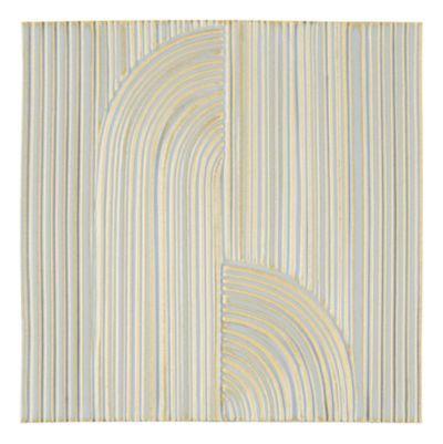 """Tableau by Kelly Wearstler 9"""" x 9"""" Crescent Deco field tile in Blue Mist"""