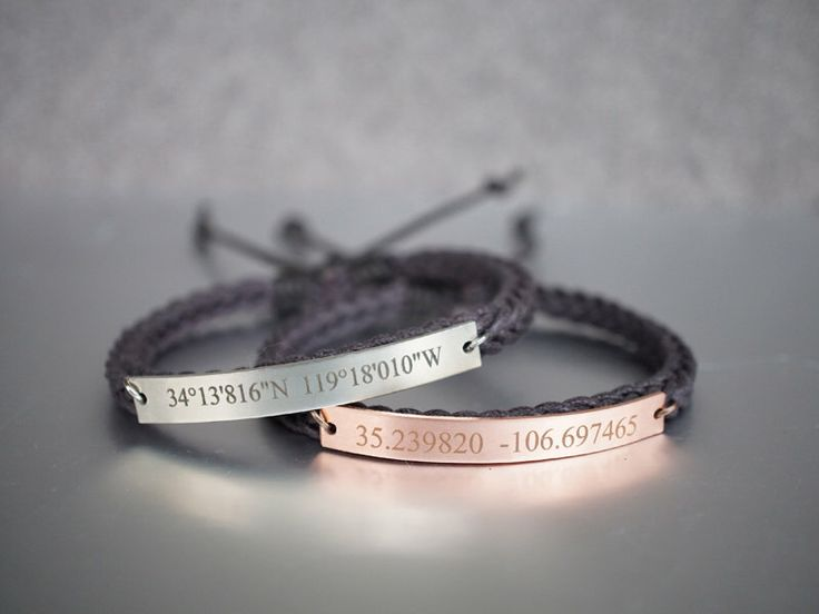 Custom Coordinates Bracelets, Matching Couple Bracelets, His and Hers, Location Engraved Bracelet, Slim Bar, Dark Brown Braided Bracelet by TimArtCreations on Etsy https://www.etsy.com/listing/287123009/custom-coordinates-bracelets-matching