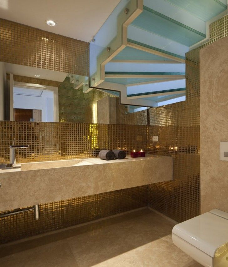 Apartment, Golden Metallic Wall Bathroom Mosaic Tile Blue Glass Stairs Hand Wipes Brown Floor Ceramic Candle Light Mirror Water Close Lamp Stainless Faucet And Sink ~ Fantastic Open Plan Apartment Design in Israel with Ocean View Scenery